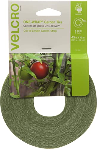VELCRO Brand Plant Ties | 45 ft x 1/2 in Roll | Alternative to Twine, Reuse and Adjust with No Knots | Garden Tape ha...