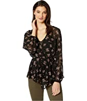 Long Sleeve Cross Front Ditsy Gathering Blouse