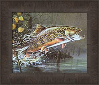 Jumpin' Brookie by Scott Zoellick 12x14 Brook Trout Fish Wildlife Framed Art Print Picture