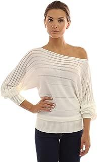 Women On Off One Shoulder Semi-Sheer Sweater