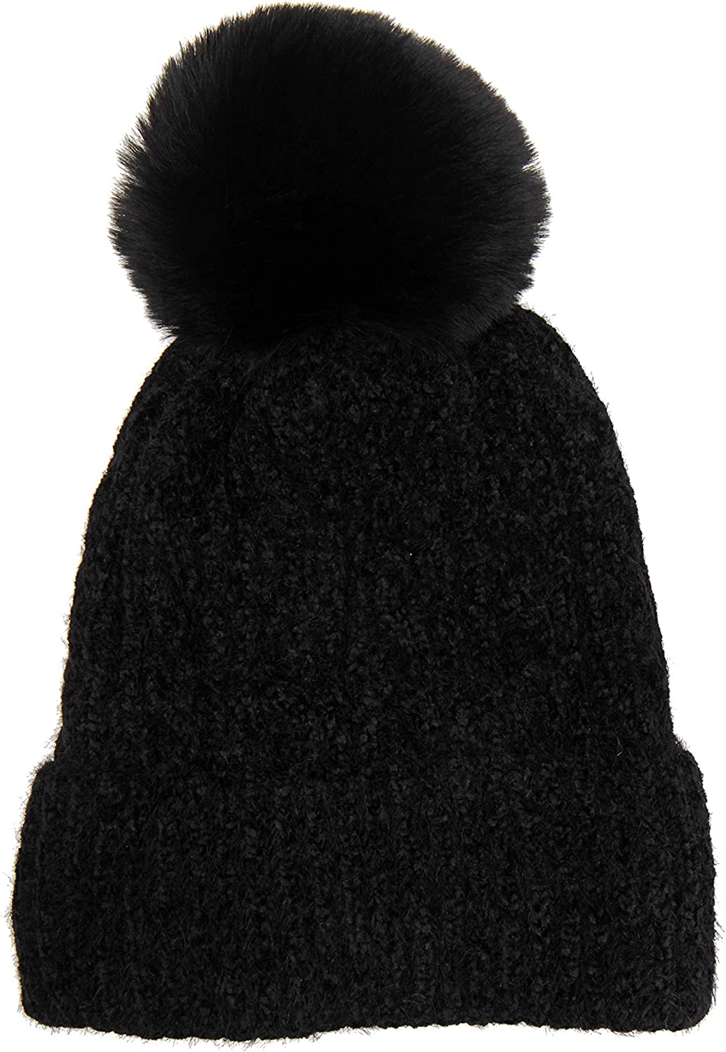 TEXTURE Ladies Womens Lagenlook Winter Cable Knitted Velour Fleece Lined Faux Fur Bobble Pom Pom Beanie Hat