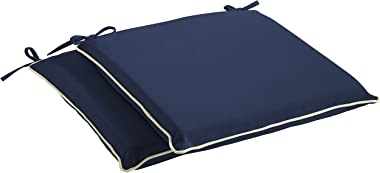 """Mozaic Sunbrella AMCS114086 Indoor/Outdoor Cushion Corded Chair Pad Set, 19""""x 17"""", Navy Blue with Ivory"""