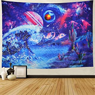 Heopapin Ocean Wave Tapestry Japanese Sea Wave Wall Tapestry Psychedelic Galaxy Space Tapestry Bohemian Cactus Tapestry Hippie Celestial Tapestry Wall Hanging for Bedroom