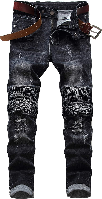 DANT BULUN Men's Ripped Slim Straight Fit Moto Biker Jeans with Zipper Deco