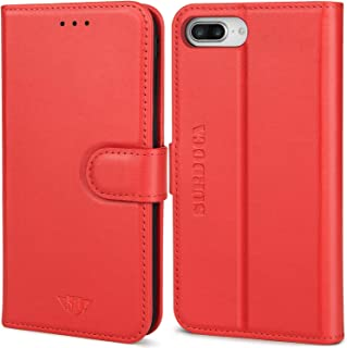 SURDOCA iPhone 8 Plus Leather Wallet Case - iPhone 7 Plus Leather Wallet Case, Handmade Protective Real Genuine Cowhide Magnetic Folio RFID Card Holder Flip Men Women Magnet Apple Cell Phone Cover Red
