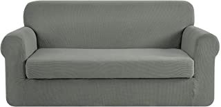 Best CHUN YI Stretch Sofa Slipcover 2-Piece Couch Cover Furniture Protector, Settee Coat Soft with Elastic Bottom, Checks Spandex Jacquard Fabric, Large, Dove Gray Review
