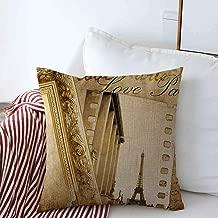 Decorative Square Throw Pillow Covers Album Vintage Photoalbum Paris Eiffel Love Tower Artistic Border Design France Cushion Case for Sofa Bedroom Car 16 x 16 Inch