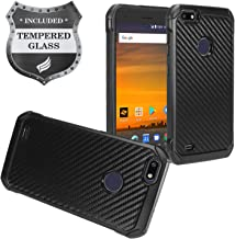 Compatible for ZTE Blade X Z965, ZTE Blade Force N9517 - Hybrid TPU Protective Case + Tempered Glass Screen Protector - Black Carbon