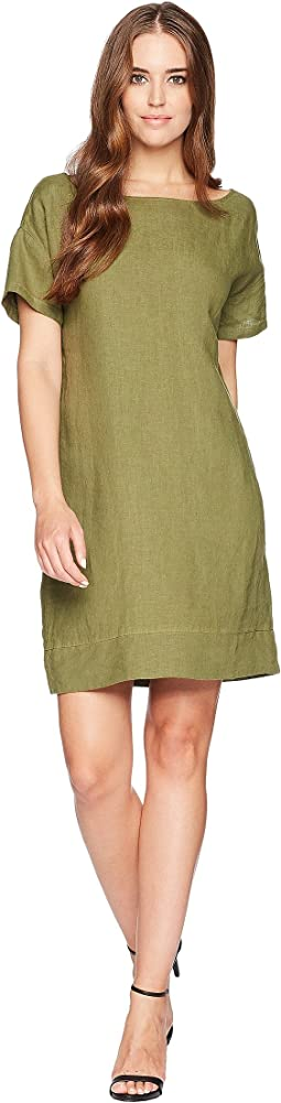 Woven Linen Cross-Back Shift Dress