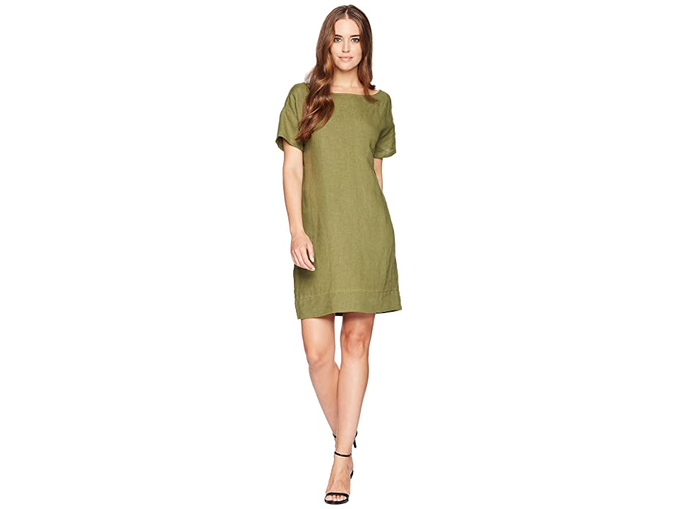 Three Dots Woven Linen Cross-Back Shift Dress (Meadow) Women
