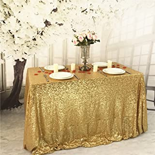 BalsaCircle 90x132-Inch Gold Rectangle Tablecloth for Wedding Party Cake Dessert Events Table Linens