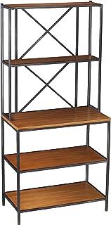 Furniture HotSpot – 5 Shelf Bakers Rack – Matte Black w/Honey Pine - 31