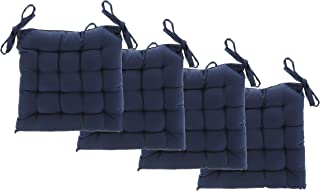 """White Dove Chair Pads - Cotton Canvas - Value 4 Pack - Fits 15"""" Chair - Solid Color - Classic Design, by Unity (Navy)"""