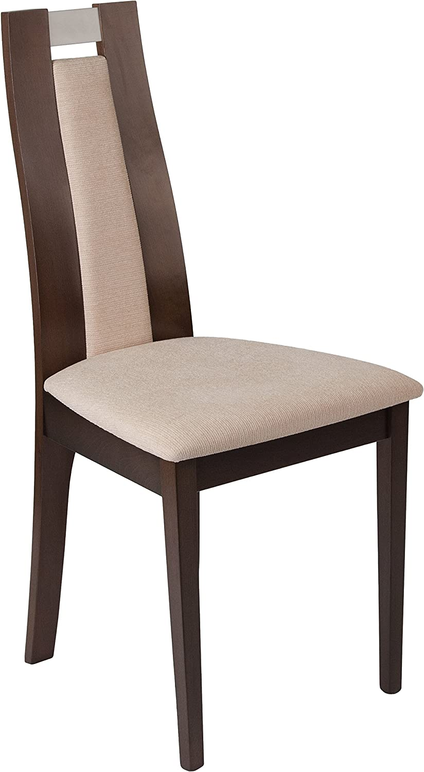 Flash Furniture Quincy Espresso Finish Wood Dining Chair with Curved Slat Beige Fabric Seat