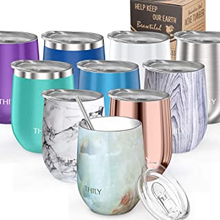 Stemless Wine Tumbler Vacuum Insulated - THILY T1 12 oz Triple-Insulated Stainless Steel Wine Glass with Lid, Straw, Keep Cold or Hot for Wine, Coffee, Cocktails, Drinks, Opal Marble
