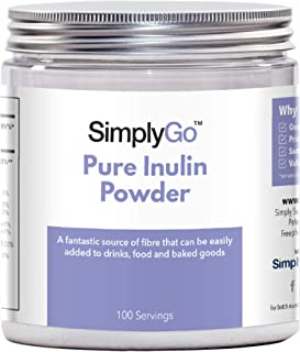 Pure Inulin Powder from SimplyGo | 500g | 100 Servings | Great Source of Soluble Dietary Fibre | Prebiotic Supplement | Vegan Friendly | Resealable Tub for Ease