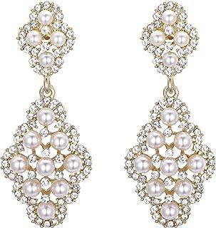 Women's Wedding Bridal Rhombus Crystal Simulated Pearl Hollow Chandelier Clip-On Dangle Earrings