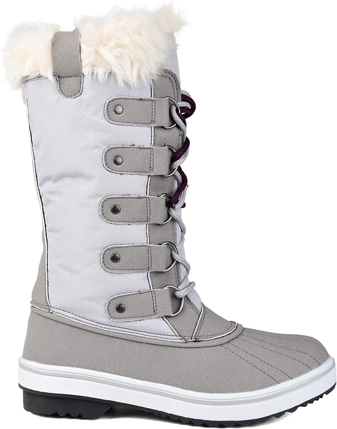 Brinley Co. Womens Lined Lace-up Snow Boot Grey, 7 Regular US