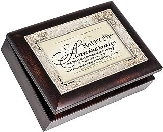 Cottage Garden Happy 50th Anniversary Burlwood Jewelry Music Box Plays How Great Thou Art