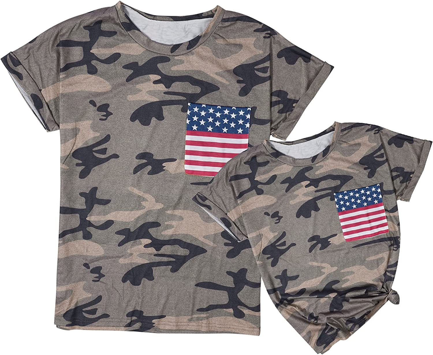Mommy and Me Matching T-Shirt American Flag Print Shirt Camouflage Family Tee Tops Short Sleeve Shirt
