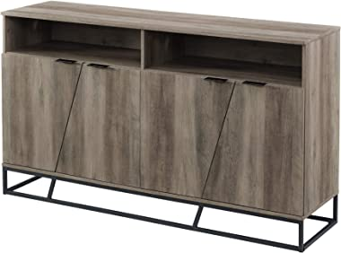 Walker Edison Angled Door Cabinet-Sideboard-Buffet with Open Shelf Storage, 58, Grey Wash