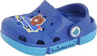 Yellow Bee Boys Clogs with Bear Motif, Dark Blue