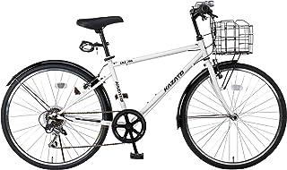 【組立必要商品】【カゴ?フロントライト?ワイヤー錠SET】KAZATO(カザト)CKZ-266 クロスバイク 自転車 26インチ シマノ製6段変速 前後フェンダー
