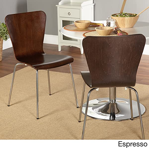 Simple Living Pisa Bentwood Stackable Dining Kitchen Chairs Set Of 2 Espresso