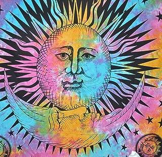 Gokul Handloom Psychedelic Celestial Indian Burning Sun Moon Hippie Hippy Tapestry Wall Hanging Throw Tie Dye Hippie Hippy Boho Bohemian Tye Die Window Doorway Door Curtain