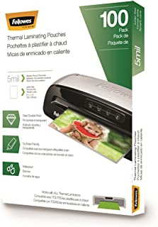 Fellowes Thermal Laminating Pouches 5 mil 100 Pack 5 Mil