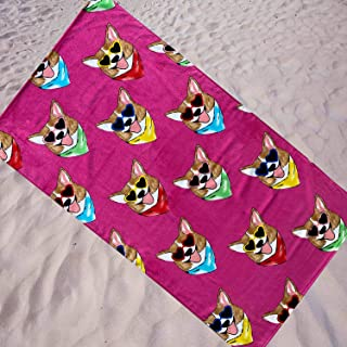 Espalma Oversized Luxury Bouffant's and Broken Hearts Designer Beach Towel, 36 Inch Wide x 68 Inch Long Soft Absorbent Cotton Velour, Large Vibrant Print Beach Towel, Corgi Love Pink
