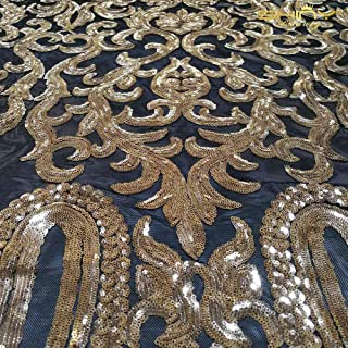 Sequin Fabric by The Yard Copper Sequins Embroidered Lace Fabric Africa Sequins Lace Fabric for Wedding Dress/Party Dress Lace Fabric etc.6 Feet 2 Yards -1017S