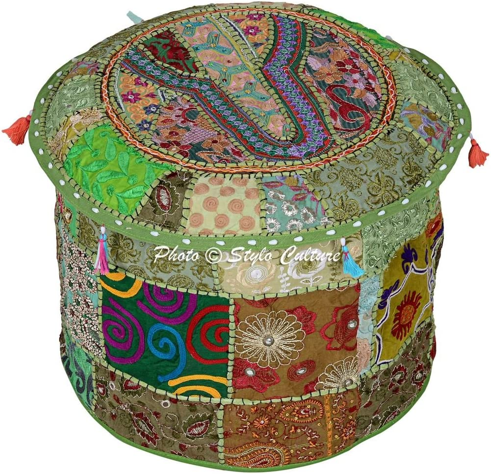Stylo Culture price Cotton Pouffe Rapid rise Embroidered Ottoman Patchwork Stool