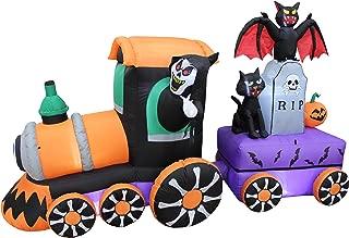 8 Foot Long Lighted Halloween Inflatable Grim Reaper Ride Train with Tombstone Cat Bat Pumpkin Indoor Outdoor Yard Art Decoration
