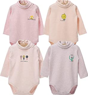 Infant Baby Boys Girls Long Sleeves Thermal Onesies Turtle-Neck Baby Bodysuit Fall Winter Clothes Outfit