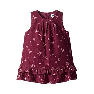 Janie and Jack Tiered Jumper Dress (Infant) (Burgundy Floral) Girl