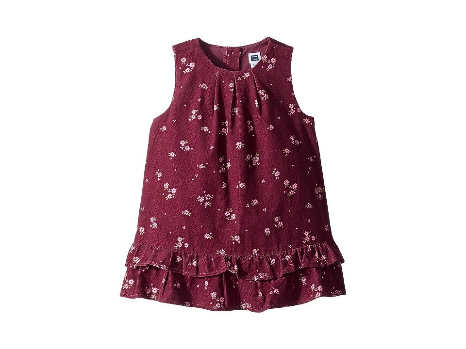 Janie and Jack Tiered Jumper Dress (Infant) (Burgundy Floral) Girl