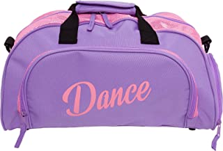 Womens Nylon Dance Duffel Gym Bag w/Shoe Compartment (Purple/Pink, One Size)