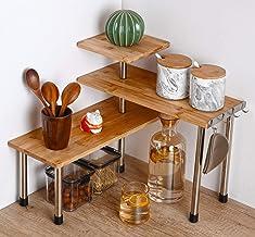 3 Tier Corner Shelf Bamboo & Metal Storage Spice Rack-Desk Bookshelf Display Shelves Space Saving Organizer -Adjustable Ra...