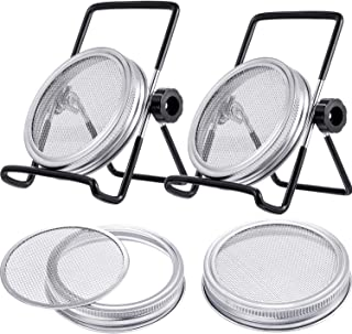 Skylety 4 Pack Stainless Steel Sprouting Jar Lid with 2 Pack Stainless Steel Sprouting Stands for Wide Mouth Mason Jars Canning Jars to Make Sprout (Black)