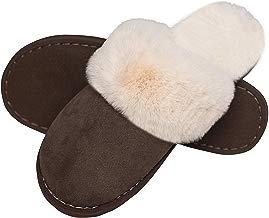 Mujer Invierno Fur Zapatillas de Estar Cerradas Calienta Pantuflas, para Interior o Exterior