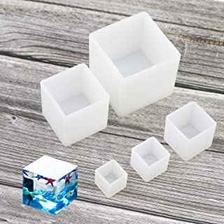 Luckkyme Resin Casting Molds Square Resin Mold Cube Silicone Molds for DIY Craft Making Silicone Clear Casting Molds (5size)