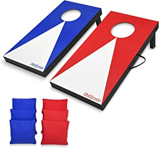 GoSports Portable Size Cornhole Game Set with 6 Bean Bags - Great for Indoor & Outdoor Play (Choose Between Classic or Wood Designs)