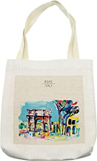 Lunarable Watercolor Tote Bag, Historical Rome Architecture Italy Scene from Tourist Monument European Artwork, Cloth Linen Reusable Bag for Shopping Books Beach and More, 16.5