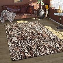 Hoogpolig vloerkleed Imitatiehuid Luipaard Patroon slaapkamermat Lange pool, Maat:140x200 cm, Kleur:Beige