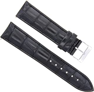 Ewatchparts 22MM Leather Watch Strap Band for Girard PERREGAUX Black