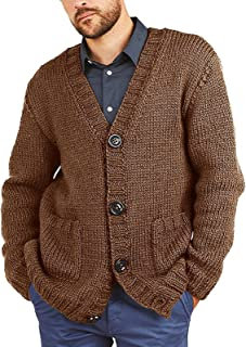 keepwo Men Knitted Buttoned Cardigan Mens Retro Vintage Warm Button Sweater V Neck Button Up Winter Knit Coat