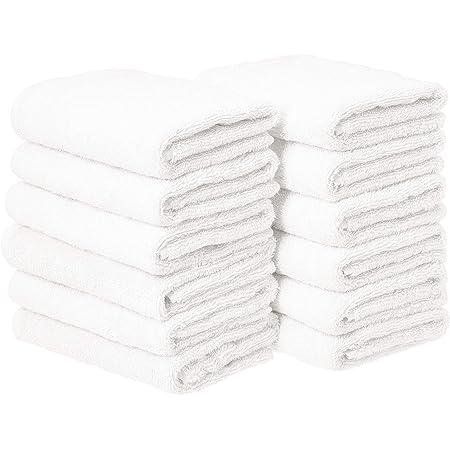 Amazon Basics Cotton Hand Towels, White - 12-Pack