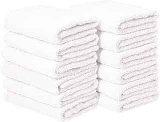 AmazonBasics Cotton Hand Towels, White - Pack of 12