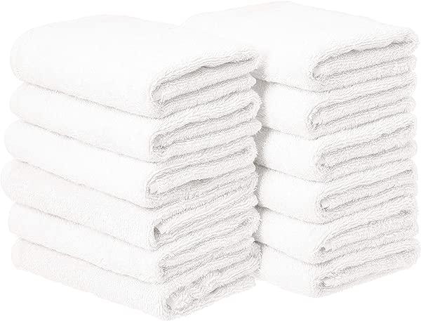 AmazonBasics 棉质手巾一包 12 白色